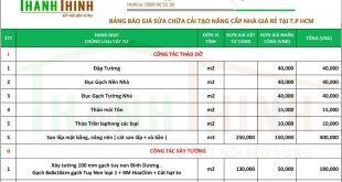 Bảng báo giá sửa chữa nhà, cải tạo nhà uy tín, giá rẻ tại TPHCM