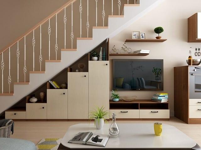 Cần phải đo kích thước của gầm cầu thang của nhà mình, để có thể tính toán ra công năng phù hợp với diện tích gầm cầu thang