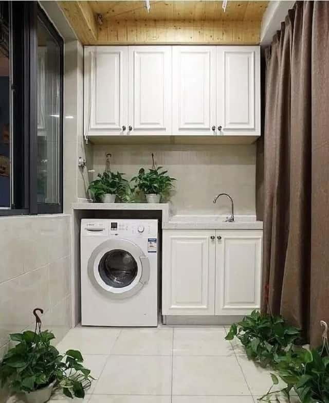 Phòng giặt mang phong cách ấm áp, dễ thương