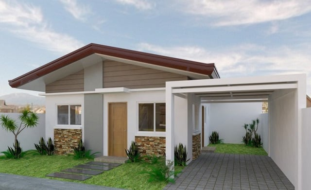 """Các đường nét đơn giản của một căn nhà một tầng tuy nhỏ nhưng nhìn vẫn rất thoáng không hề """"kém sang"""" chút nào"""