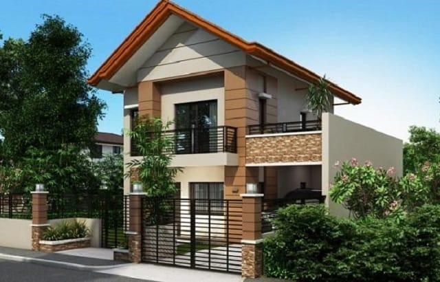 Một ngôi nhà hai tầng hiện đại với ban công rộng và mái thái