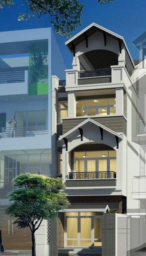 Nhà mái thái 4 tầng rất được ưa chuộng ở các vùng nông thôn lẫn thành thị