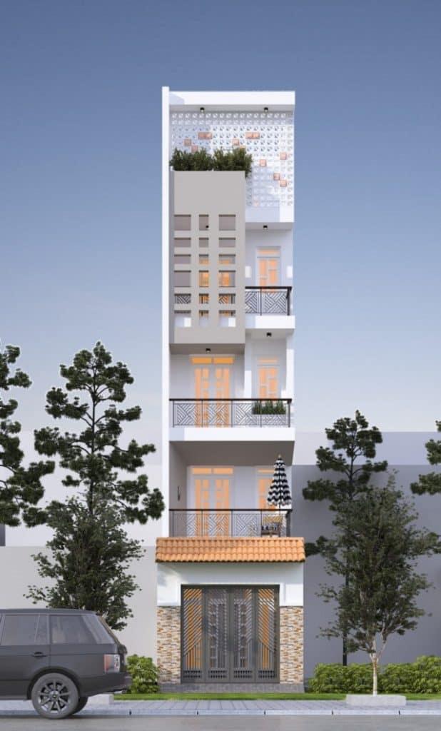 Bản chiếu phối cảnh ngôi nhàtầng 2, 3, 4 của5 tầng