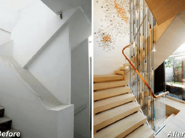 Cầu thang của nhà ở số 2 sau khi cải tạo trở nên hiện đại hơn