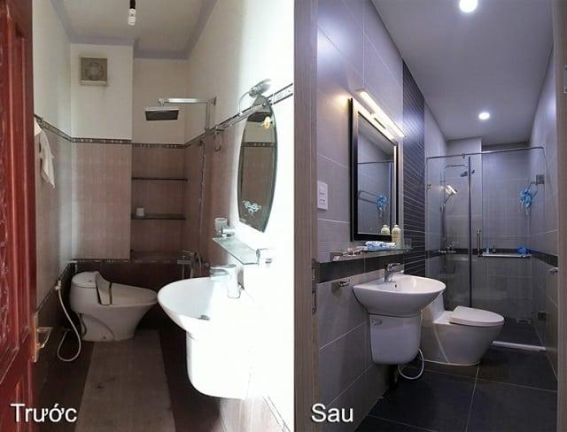 Nhà vệ sinh của ngôi nhà số 1 trước và sau khi cải tạo