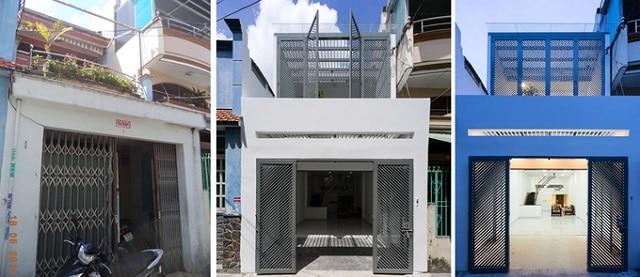 Mặt tiền của ngôi nhà số 2 trước và sau khi cải tạo