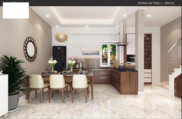 Không gian phòng bếp của căn biệt thự số 3 sau khi cải tạo trở nên tinh tế và hiện đại