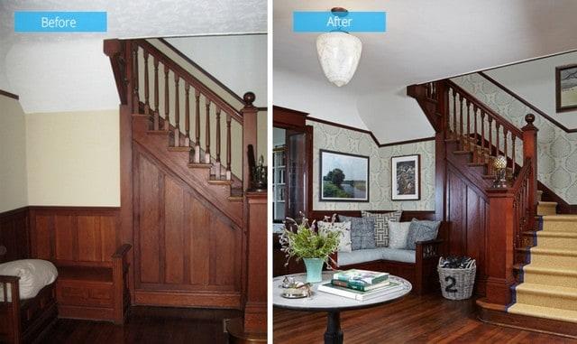 Có thể cải tạo chân cầu thang để có một phòng làm việc nhỏ và đơn giản
