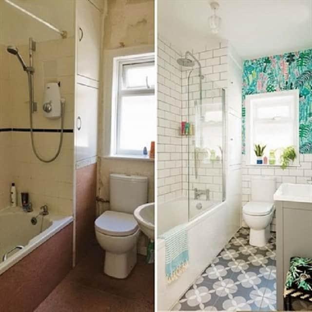 Hình ảnh trước và sau của căn phòng được cải tạo