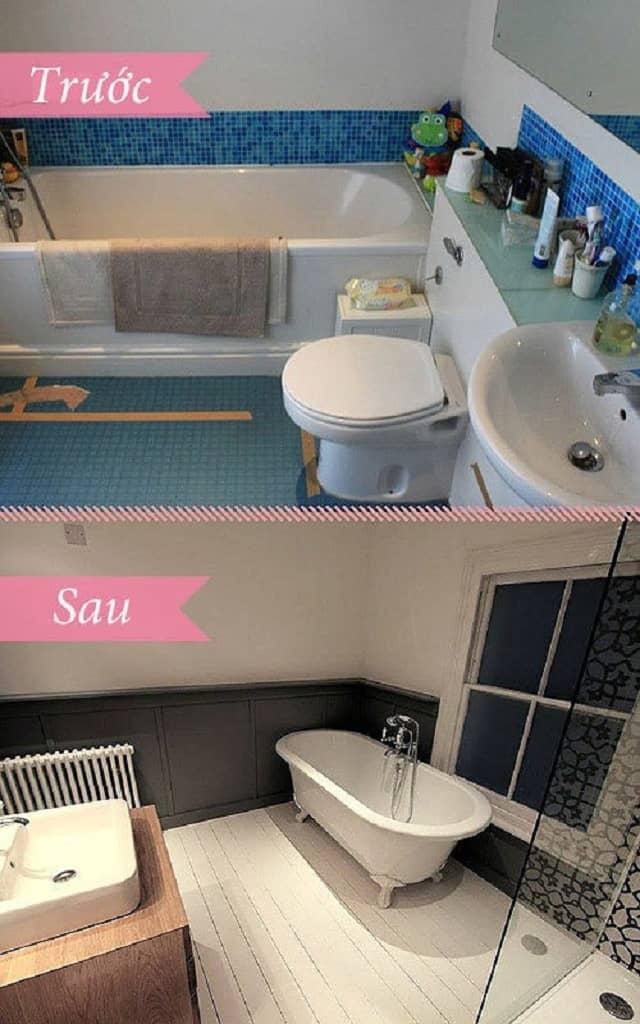 Phòng tắm sau khi cải tạo mang vẻ đẹp tinh tế