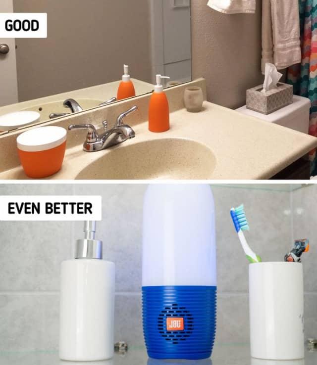 Phòng tắm bố trí loa Bluetooth