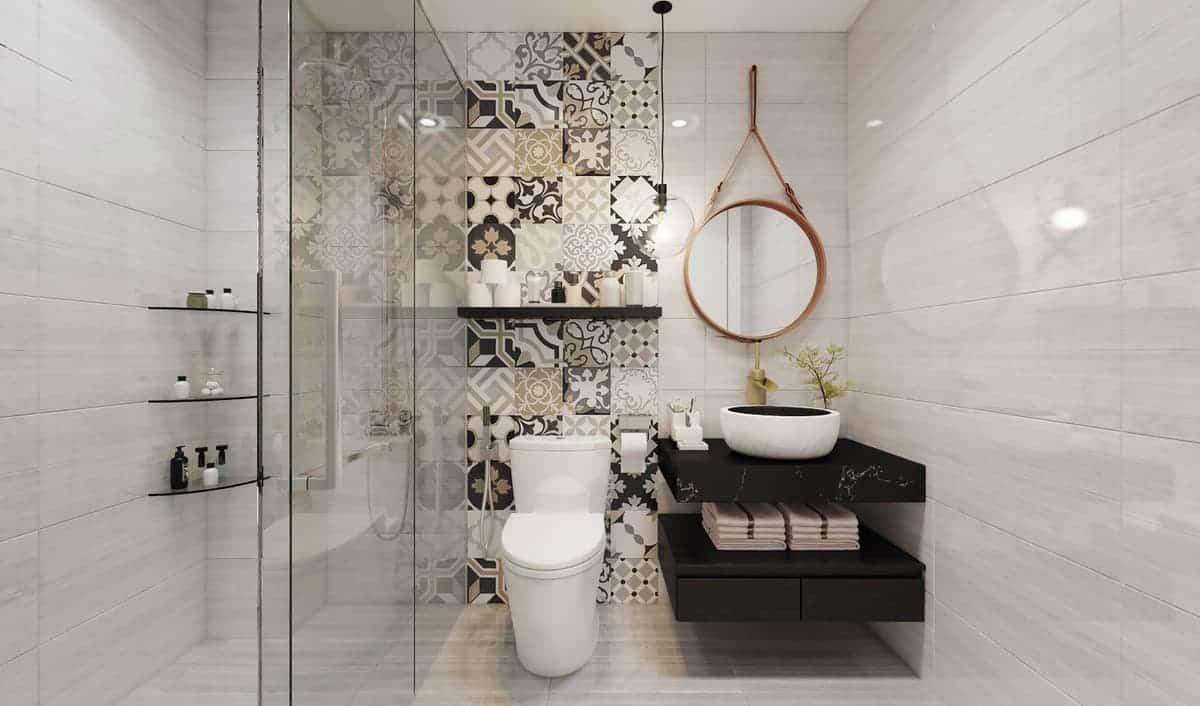 cách phối màu gạch phòng tắm, nhà vệ sinh