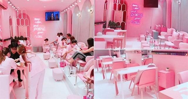 Phong cách thiết kế tiệm Nail màu hồng xinh xắn, ngọt ngào