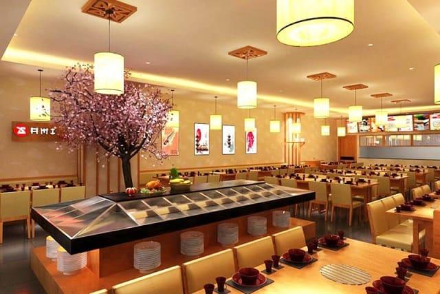 Hệ thống chiếu sáng trong nhà hàng được phân bố đều trên các dãy bàn để mang lại hiệu ứng ánh sáng tốt nhất