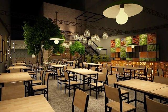 Mẫu đèn chùm chiếu sáng trong nhà hàng được thiết kế riêng biệt làm không gian trở nên bừng sáng