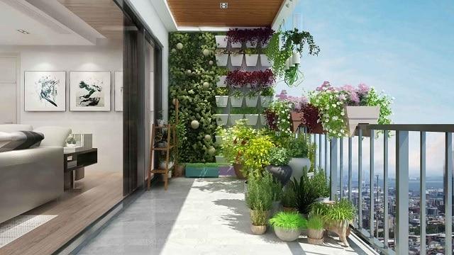 Thiết kế sân vườn trên ban công sân vườn ấn tượng