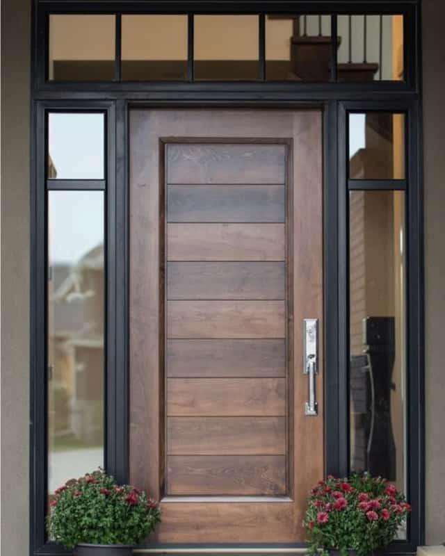 Mẫu cửa ra vào 2 cánh bằng gỗ