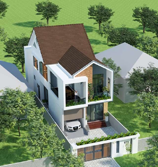 Nhà mái thái sang trọng với hàng rào kiểu Âu