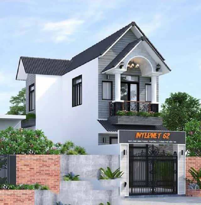 Nhà 2 tầng mái thái xây dựng trên lô đất hình chữ nhật