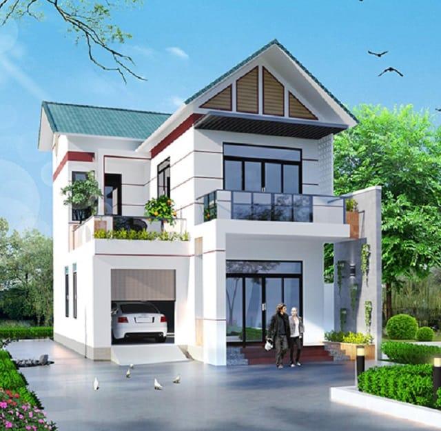 Kiểu nhà 2 tầng mái thái thường thấy ở nông thôn