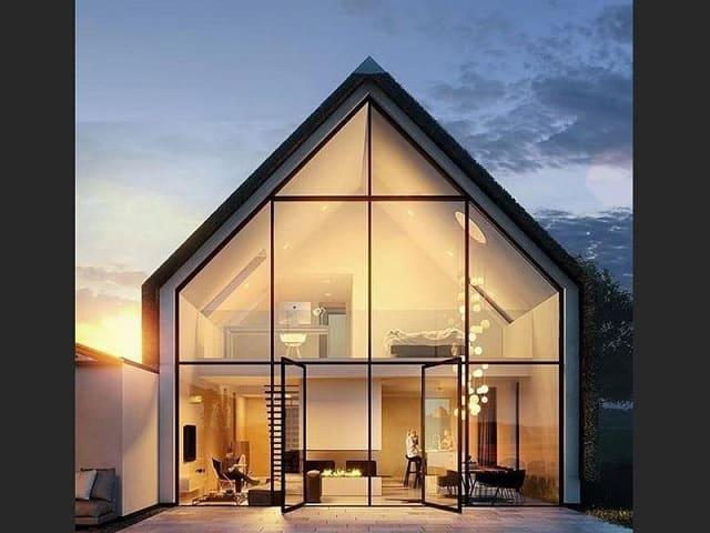 Nhà gỗ tinh tế với cách điệu phần mái trước