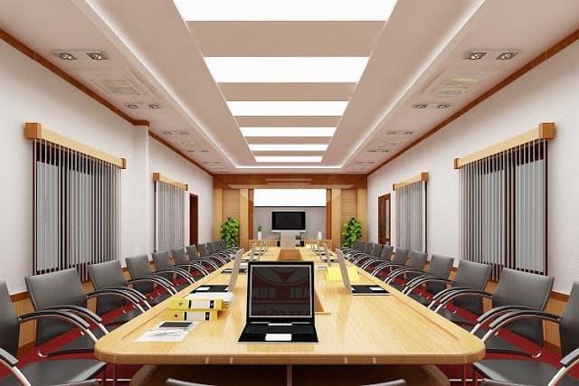 Thiết kế phòng họp tông màu đỏ nổi bật