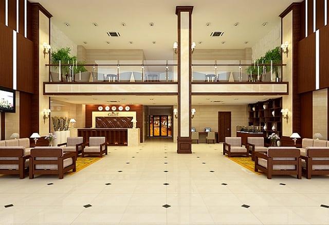Hành lang của khách sạn thiết kế bắt mắt và mang đến sự tiện nghi cho không gian