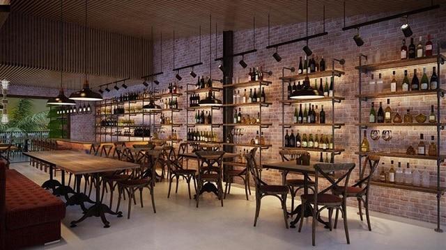 Phong cách dùng trong thiết kế quán Bar này tập trung nhiều vào sự đơn giản
