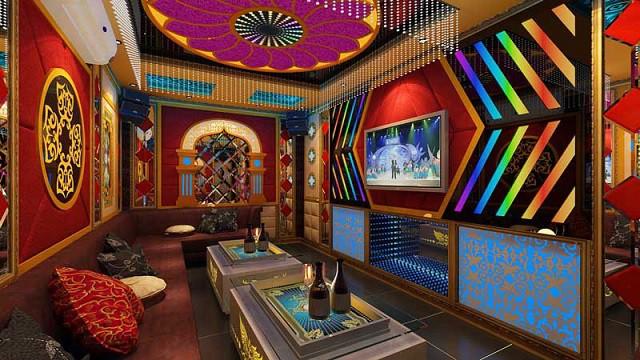 Phòng Karaoke vẫn sử dụng phong cách cổ điển nhưng màu sắc lại nổi bật, ấn tượng hơn