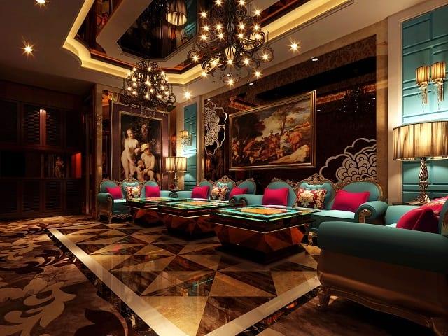 Phòng Karaoke thiết kế với phong cách tân cổ điển, ưu tiên những chi tiết hoa văn nổi bật