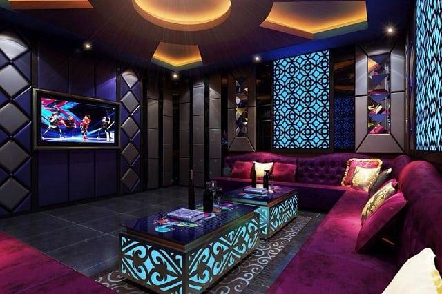 Phòng Karaoke có không gian thiết kế đơn giản, hiện đại và thanh lịch
