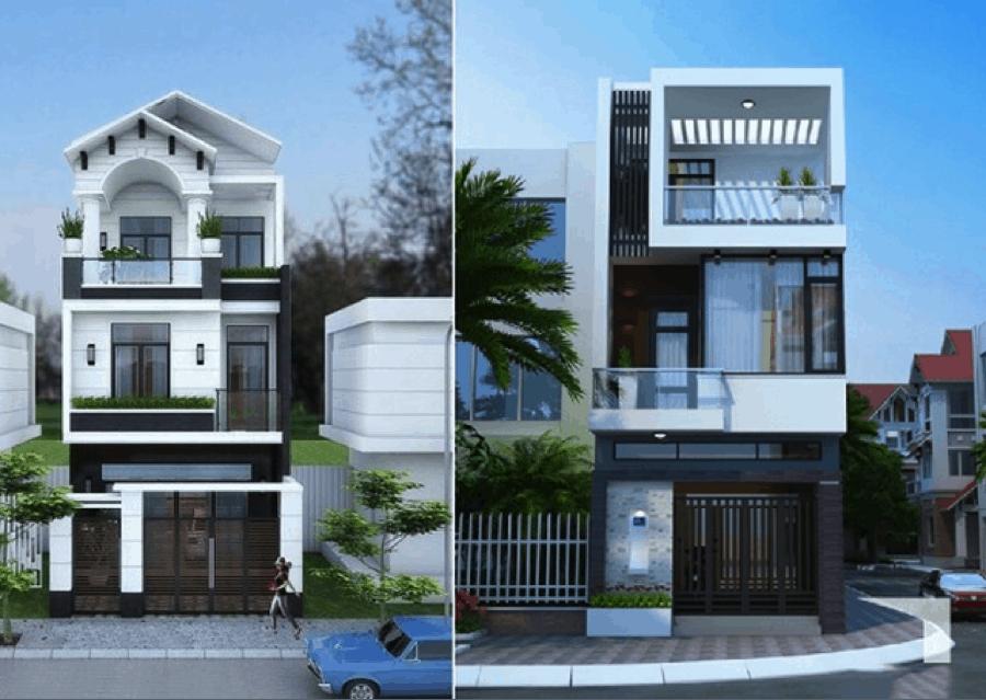 Mẫu nhà bán cổ điển có tông màu trắng nên giúp tăng thêm vẻ đẹp sang trọng cho ngôi nhà hơn