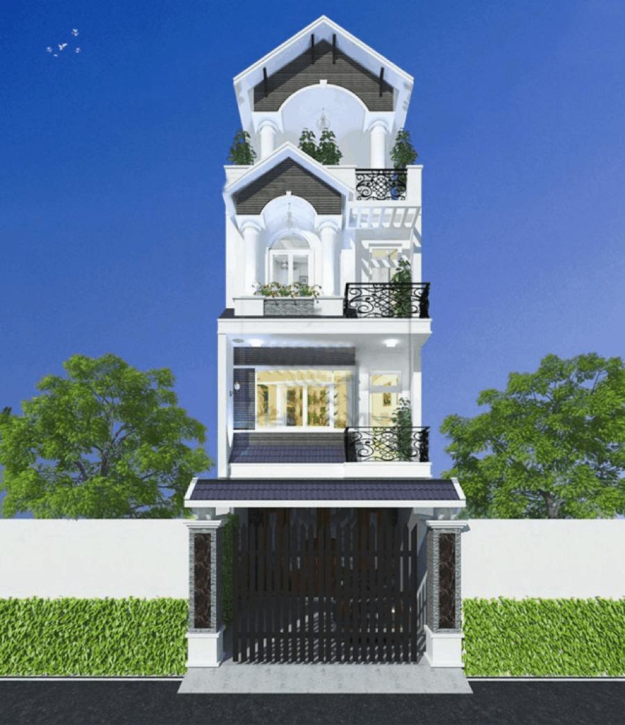 Mẫu nhà bán cổ điển đẹp với lối kiến trúc độc đáo và màu sắc trang nhã