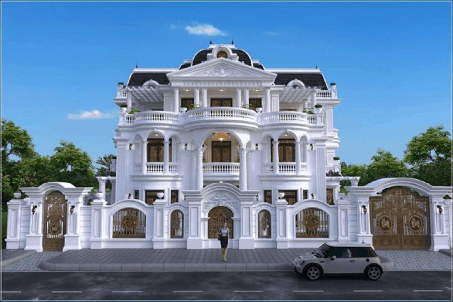 Mẫu thiết kế nhà bán cổ điển đẹp được rất nhiều đại gia lựa chọn để làm nơi nghỉ dưỡng cho gia đình mình.