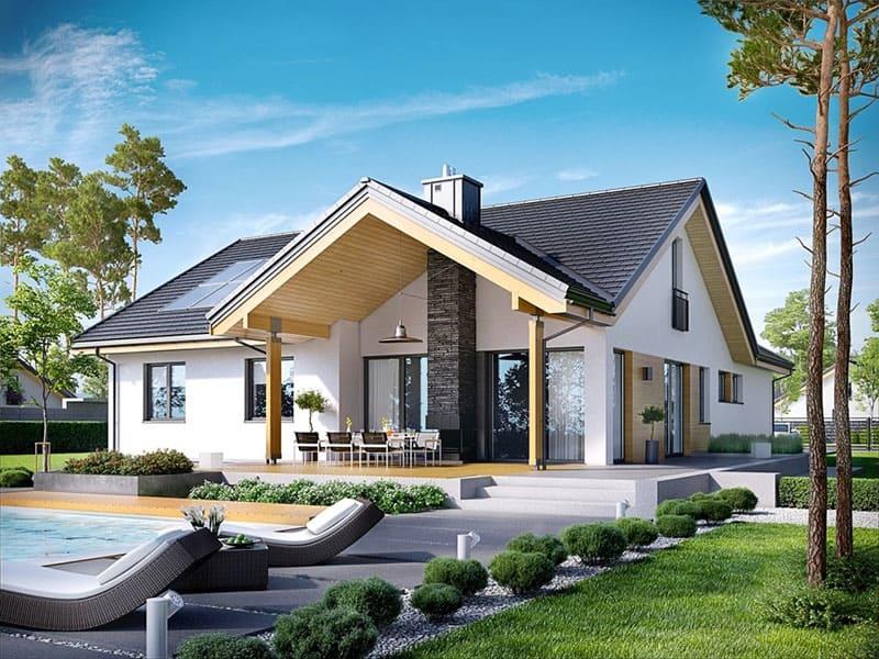 Kiểu dáng của ngôi nhà mang phong cách kiến trúc tân cổ điển mạnh mẽ, khỏe khoắn đầy đẳng cấp