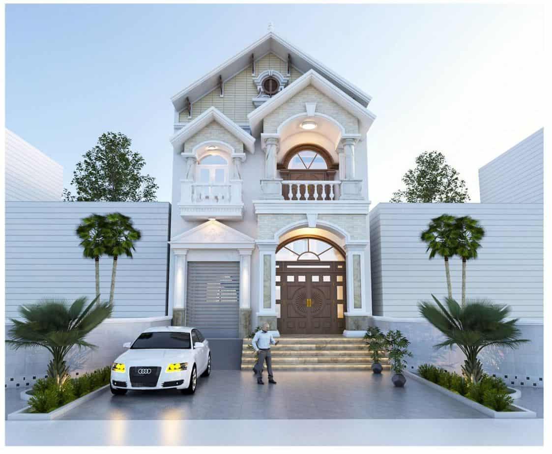 Phong cách thiết kế nhà sử dụng màu trắng tinh tế, mang vẻ đẹp sang chảnh