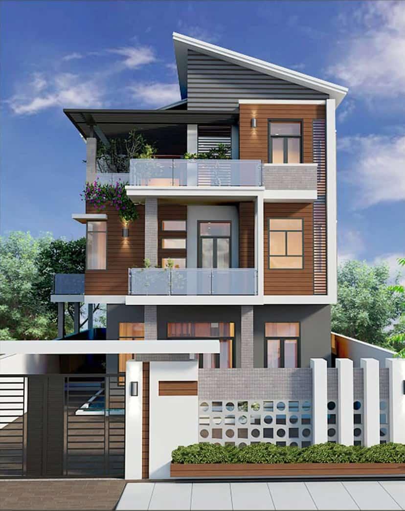 Ngôi nhà được thiết kế sang trọng, mạnh mẽ với hình khối liền mạch
