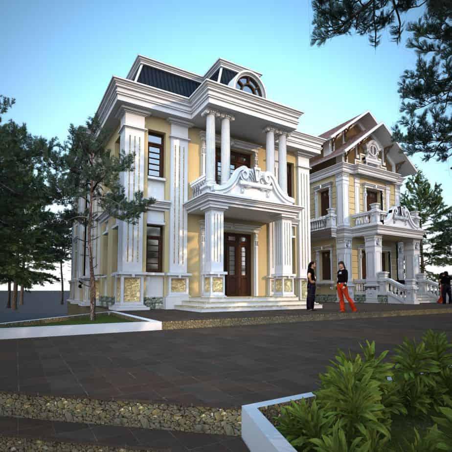 Thiết kế của ngôi nhà với khuôn viên lớn, dãy ghế đệm tròn cùng hồ bơi giống như khu Villa sang chảnh