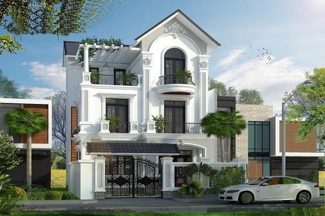 Căn nhà mang phong cách tân cổ điển hiện lên với vẻ đẹp tinh tế, sắc sảo trong từng chi tiết