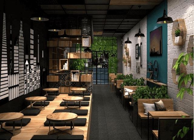 Quán café được thiết kế theo phong cách hiện đại với nhiều cây xanh mang đến cảm giác gần gũi