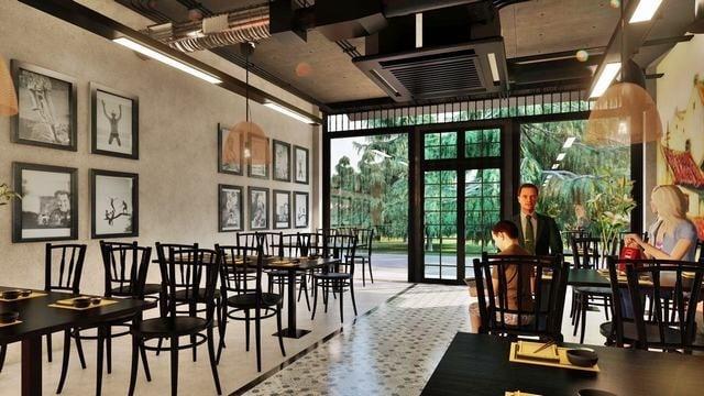 Quán café được thiết kế theo phong cách hiện đại, đơn giản nhưng vẫn thể hiện được sự sang trọng