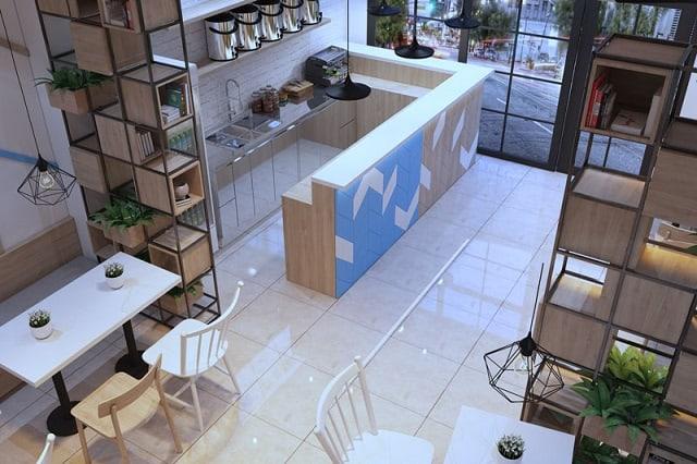 Điểm nhấn của quán trà sữa chính là nền gạch sáng bóng kết hợp với hệ thống cửa kính làm không gian thêm sáng