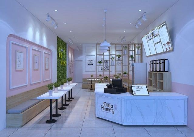 Phong cách thiết kế quán trà sữa mang đến không gian xinh xắn, dễ thương