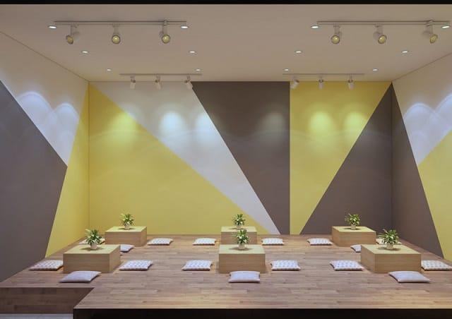 Điểm nhấn đầu tiên trong quán trà sữa làm khách hàng cảm thấy thích thú đó chính là sự phối hợp giữa mảng màu sắc cùng ánh đèn điện