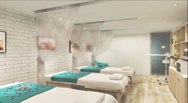 Spa thiết kế rèm cửa nhà nhàng để tạo cảm giác riêng tư, thư giãn nhất cho khách hàng