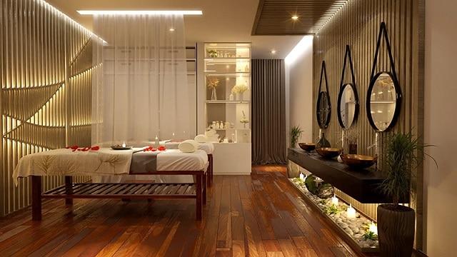 Spa sử dụng vách ngăn tạo không gian riêng tư và tận dụng nhiều nguồn ánh sáng