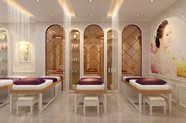 Không gian trong Spa được thiết kế theo phong cách phương Tây với sự lung linh, hiện đại