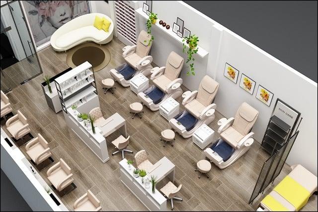 Tiệm Nail mang phong cách thiết kế đơn giản, có nhiều điểm nhấn nhỏ và hệ thống chiếu sáng ấn tượng