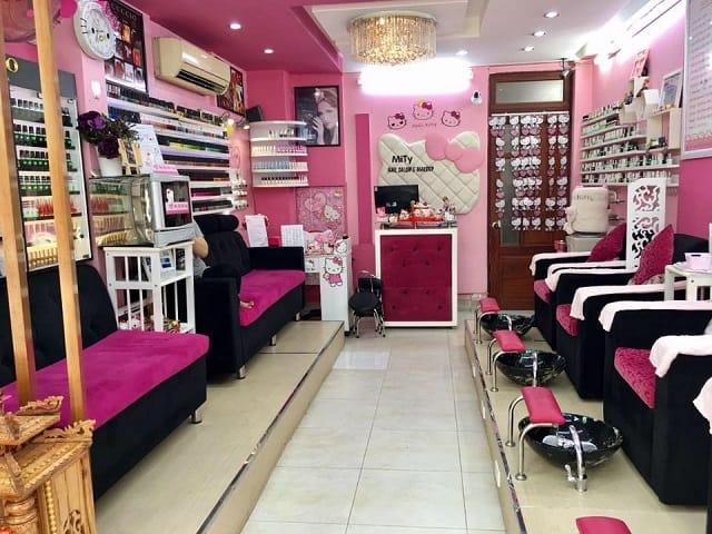 Tiệm Nail được ưu tiên thiết kế với nhiều khu vực chức năng khác nhau