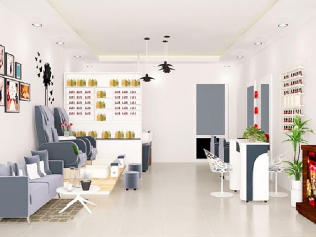 Thiết kế tiệm Nail xinh xắn với đủ mọi sắc màu tươi tắn luôn mang đến sức hút lớn với khách hàng